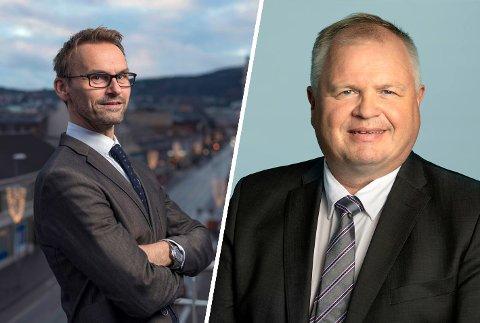 Pål Christian Garlie (til venstre) og Knut Dupvik, er begge forretningsadvokater og bostyrere i Sør-Trøndelag tingrett. De tror det vil komme mange konkurser når myndighetenes støttetiltak opphører etter koronapandemien.