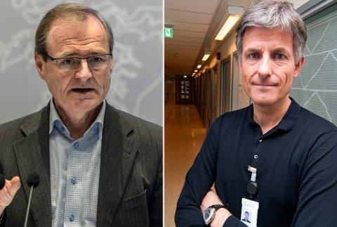 BØR GÅ: Administrerende direktør i Helse Nord, Lars Vorland (t.v.), sier det vil være til det beste for alle parter om Tor Ingebrigtsen (t.h) ikke sitter for lenge før han går av, men vil ikke svare på om han mener Ingebrigtsen bør gå av med umiddelbar virkning.