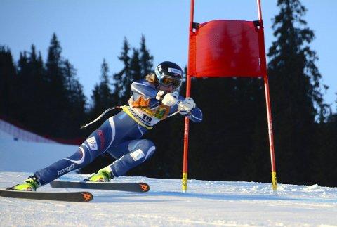 Første seier: Maren Skjøld raste inn til sin første seier i europacupen i alpint da hun gikk til topps i Superkombinasjonen i Kvitfjell lørdag. foto: stein b. olsen