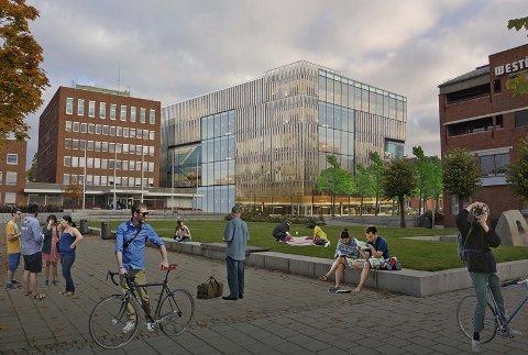 GLASS: Den nye videreående skolen blir trolig i glass.