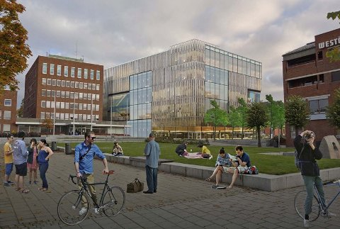 GLASS: Den nye videreående skolen blir trolig i glass.Perspektiv fra Rådhusparken. Illustrasjon: LMR Arkitekter as