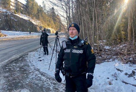KJØRER FOR FORT: UP-leder i Øst politidistrikt, Rune Dahl, syns resultatene etter dagens fartskontroll er nedslående.