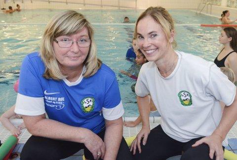 Overtar: Grethe Lill Olufsen (t.v.) overtar nå ansvaret for Larvik svømmeklubbs kurs etter Birgitte Gulla Løken.