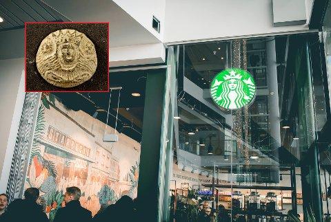 LIKHET: Starbucks-logoen er utvilsomt ikke ulik det som ble funnet i jorda på øyene, men det er også liten tvil om hva som ble laget først.