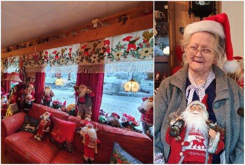 ÅRETS JULEHUS?: Eva Marie Møller (89) har fylt leiligheten med nisser.
