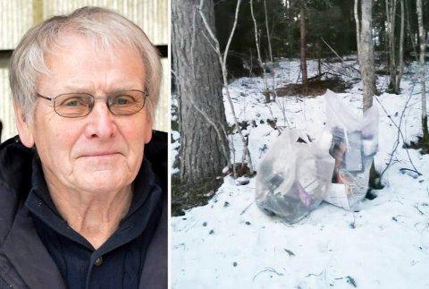 KASTET: De to avfallssekkene er bare hensatt i skogen på Eggemoen. Grunneier Oddvar Røysi har hentet og sortert avfallet, uten å finne spor etter gjerningspersonen.