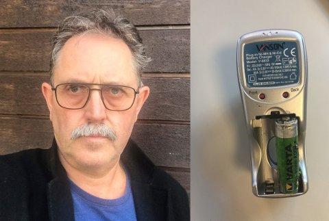ADVARER: Hallgeir Melås advarer andre etter at han våknet opp til sprakelyder fra batterier og batteriladeren.