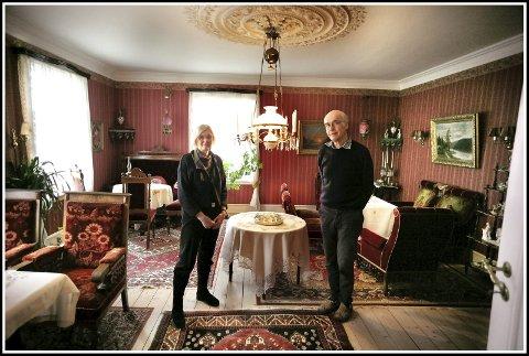 Det helligste: I dette rommet måtte Amundsen-slekta møte til andakt hver søndag klokken 11. På gulvet lå det på den tiden en stor kongetiger, som var gitt i bryllupsgave til Olava og Carl.