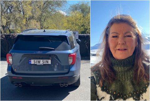 SKIL SEG UT: For 9000 kroner kan du få ditt eige, personlege bilskilt, slik som Siw Beate Landro. Her er det ingen tvil om kven som eig bilen.