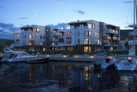POPULÆRT PROSPEKT: En beliggenhet med utsikt utover fjorden og båter liggende utenfor stuedøra, ser ut til å ha vært et selgende budskap på sørsiden av Svelvik sentrum.