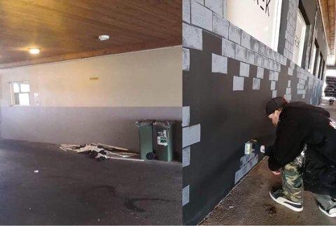 FORVANDLING: For en uke siden var veggen gul og grå, nå får den, og resten av inngangspartiet til tribunen nytt liv.