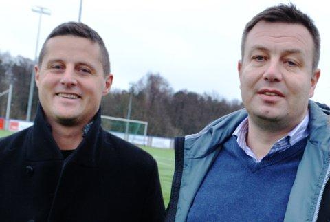 DUGNAD: Pål Engseth (til venstre) og Olav Bolseth i FK Eik Tønsberg AIL stiller med vakter når de åpner banene også for uorganisert aktivitet.