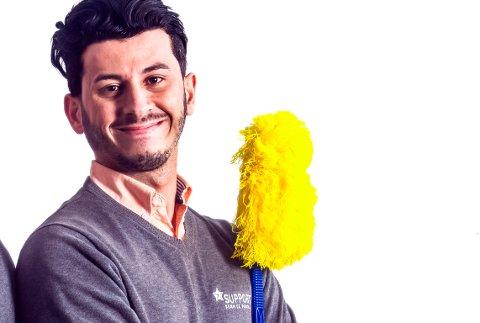 KJEMPER OM PRIS: Jeg er uredd, jeg satser på mine renholdere, jeg er opptatt av å gi alle en sjanse og av å være et forbilde for de ansatte, sier Ghazi Khder Jezdin (23) om sine personlige egenskaper.