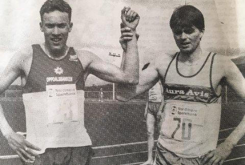 Tøff duell: Vebjørn Rodal vant med ett tidels sekund.