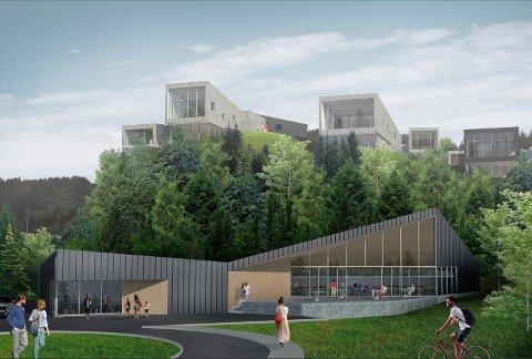Dette bygget i framgrunnen kan verta restaurant og konferansesenter om utbyggar får det som han vil.