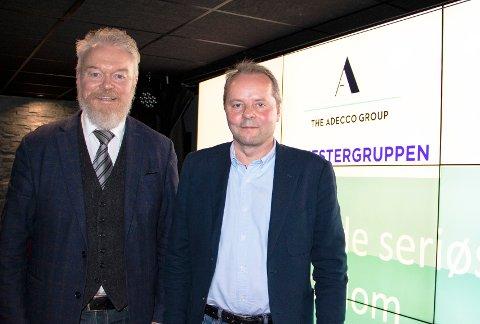 Torstein Ravndal, salgsdirektør i Adecco Bygg & Industri og Trond Lie, kjededirektør i Systemhus, rydder opp i innleie av arbeidskraft med en ny rammeavtale. Foto: Systemhus