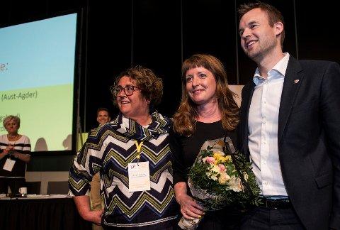 Den nye ledertrioen i KrF ble valgt ved akklamasjon og med stående applaus. Fra venstre: Olaug Bollestad, Ingelin Noresjø og Kjell Ingolf Ropstad.