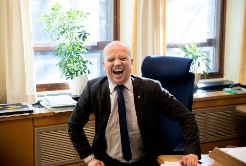 Senterparti-leder Trygve Slagsvold Vedum kan kose seg med meningsmålingene om dagen. I TV 2-s stortingsgallup for april setter partiet ny rekord med 16,9 prosents oppslutning. Foto: Ole Berg-Rusten / NTB scanpix Foto: (NTB scanpix)