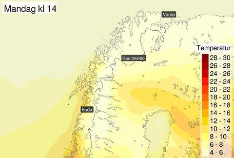 Også #NordNorge får en smak av sommervarme denne uka. Prognosene er fremdeles litt usikre, men varmest ser det ut til å bli fredag.