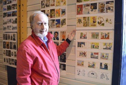 BERGENSKE: – Her ser du postkort med Audun Hetland-tegninger på. Kanskje er der noen som har lyst på disse? De selges samlet. FOTO: TOM R. HJERTHOLM