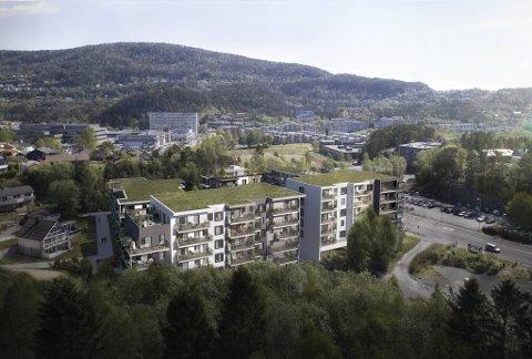 Det FotoKnudsens bygg lå før, bygger nå Axer Norge totalt 146 leiligheter i prosjektet Knudsenkvartalet. 71 av dem er fortsatt ledige per nå.