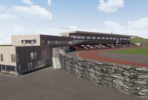 Slik er illustrasjonen av nye Fana Stadion i volumstudien. Rambøll poengterer at dette er en tidlig illustrasjon som viser bygningenes plassering i området. Det er ikke en illustrasjon av hvordan arenaen er tenkt utformet arkitektonisk.