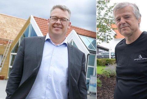 Reiseliv: Tor Gunnar Solvang i Utstein Kloster Hotell (t.v.) og Kjetil Mehus i Fjordbris Hotell er rimelig enige om hva som er nødvendig for en bærekraftig reiselivsnæring.