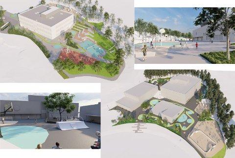 HVOR BLIR DET NY SKOLE? Blir det på Krøderen eller Noresund. De to øverste bildene viser en ny skole på Krøderen med uteområde. De to nederste viser det samme på Noresund.