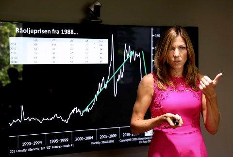 OLJEANALYTIKER: Oljeanalytiker Tina Saltvedt fra Nordea Markets kommer til Drammen for å snakke om de finansielle utsiktene for 2018.