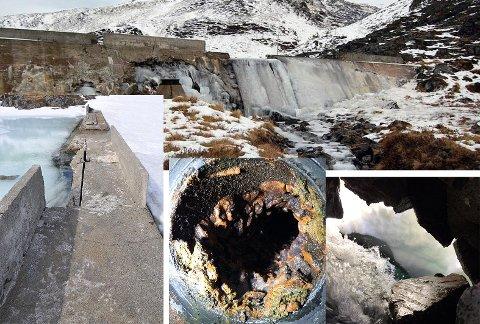 Kamøyvær nedre dam trenger sårt renovering. Bildene viser tilstanden på dammen, samt innsiden av vannrørene i Kamøyvær.