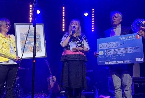NORDKAPP KINO OG KULTURSAL: Edna Toften og Per-Inge Jensen takket dypt at de fikk kulturprisen 2020.