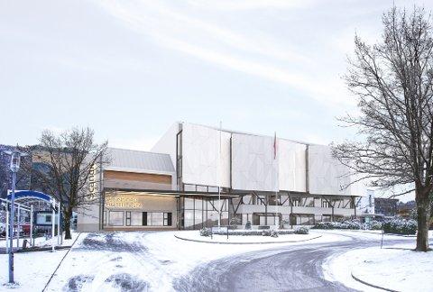 NY FRAMSIDE: Sunnfjord Hotell skal utvide og får ny konfersansesal og ny fasade. På innsida av flatene vil det kome kunst.