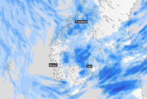 REGN: Sør-Noreg ligg i eit stort lågstrykksområde som gir oss mykje byevêr framover.