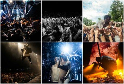 Drømmen: Robin Bøe (18), fotoelev på Glemmen vgs, vil leve ut drømmen som konsertfotograf så snart han er ferdig på skolen i sommer. Disse bildene er bare noen av dem han har knipset på konserter i løpet av 2016 og 2017. Fra venstre: Arve Tellefsen på Spellemann, Karpe Diem på Sarpsborgfestivalen, Vintage Trouble på Malakoffestivalen, Nico og Vinz på Hvalstrandfestivalen, Astrid S på Spellemann, Arif på Spellemann.