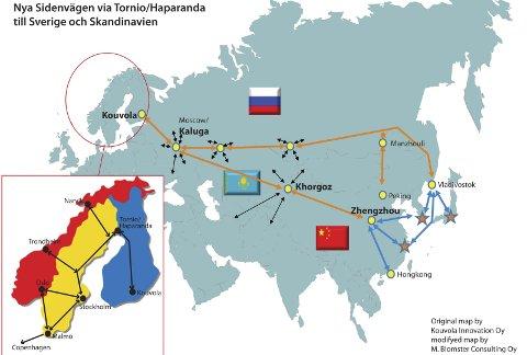 Får det til: Silkeveien med tog går fra Kina til Finland med «endestasjon» i grensebyene Torneå og Haparanda. I august eller september starter transportene i regi av det statlige kazakhstanske jernbaneselskapet KTZ. Originalkart utarbeidet av Kouvola Innovation OY, modifisert av M. Blomster Consulting OY