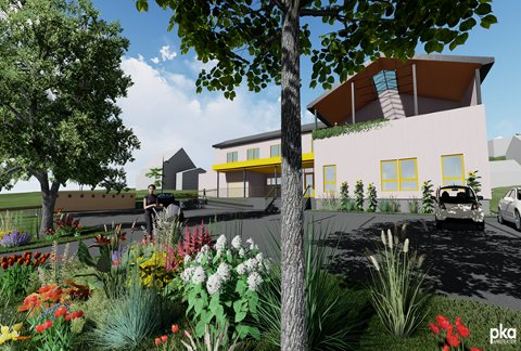PERSPEKTIVSKISSE: – Det planlagte prosjektet Bakkeåsen omsorgsboliger ligger idyllisk til ved Riddervolds vei i Åsgårdstrand, omgitt av grønne hager. De åtte boligene blir etterlengtede hjem for unge beboere, anfører arkitekten.