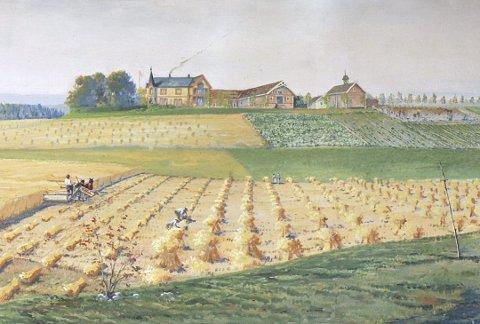 Maleriet av Frøyhov, «En større romeriksgård» ble malt til utstillingen til grunnlovsjubileet i 1914, Kristines ulykkelige år. FOTO: Hedda L. Bredvold.