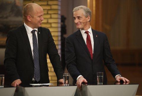 KONKURRENTER: Ap-leder Jonas Gahr Støre utfordret onsdag statsminister Erna Solberg om Regjeringens videre politikk. Når vil han utfordre Sp-Trygve Slagsvold Vedum?