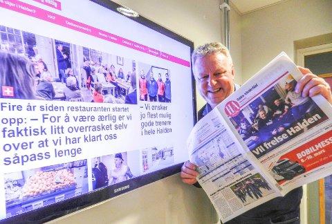 GLAD:  – At HA opplever opplagsvekst i det samme året som vi kuttet antall papirutgivelser fra seks til fire i uka, er svært gledelig, sier ansvarlig redaktør Hans-Petter Kjøge i Halden Arbeiderblad.