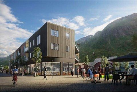 SCENE: Slik ser Larssens arkitekter for seg det nye leilighetsbygget ved torget. Det er i denne enden av bygget at det kan bli bygget inn en utescene.