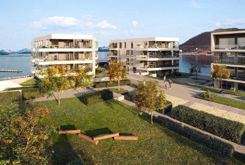 BYHAGE: Utsikt over den omdiskuterte hagen i boligkomplekset. Det skal i første omgang bygges to blokker. Senere kommer etter planen flere.