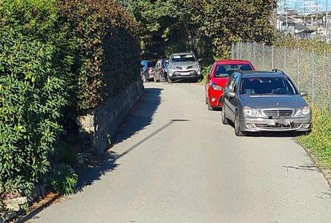PARKERINGSTRØBBEL: Flere beboere i Tangarvegen ved Klepp stasjon har sett seg leie på denne måten å parkere på, ved inngangen til turstien langs Frøylandsvatnet.