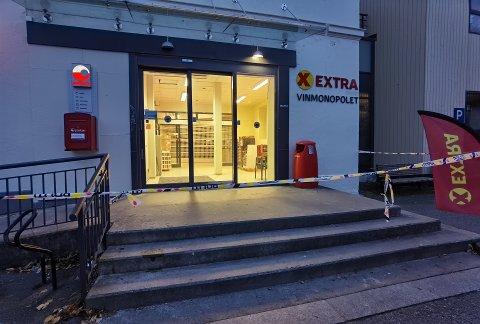 SKADET: På denne Coop Extra butikken på Vestsiden skadet Espen Andersen Bråthen en politimann med å skyte han i skulderen med pil og bue. Senere løp han ut en nødutgang og drepte fem personer i Hyttegata.