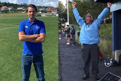TILBAKE: Martin Måleng Lund (t.v.) og Terje «Bolla» Andresen er begge ansatt i Sprint-Jeløy for å styrke klubbens satsing rundt barne- og ungdomsfotballen.