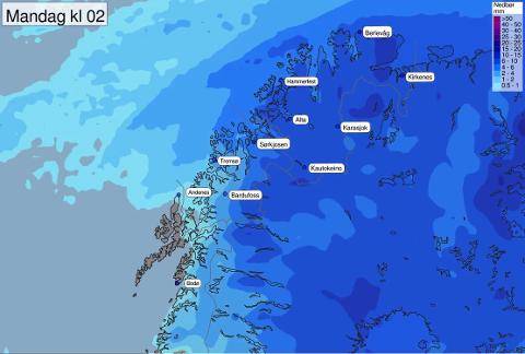 GLEDELIG GJENSYN: Det snør langs kysten i natt og store deler av mandag, melder Metereologisk Institutt.