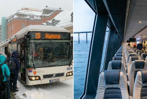 ØKER PRISENE: Troms fylkestrafikk setter opp prisene på buss og hurtigbåt med henholdsvis seks og ti prosent.