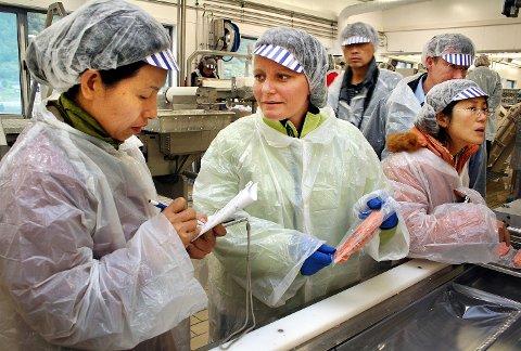 Det er mange år siden Rita Karlsen tok i mot disse kinesiske fiskeprofessorene hos Brødrene Karlsen på Husøy i Senja. Nå opplever hun at laksen må selges til andre land etter utbruddet av coronaviruset.