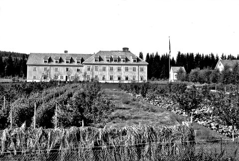 Bondelia: Skolebygget slik det så ut i 1932. Foto: Mjøsmuseet.
