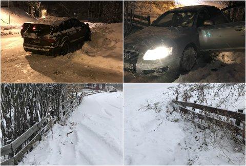 FLERE GANGER: Både i fjor og  i år har Knut Holstad Endal fått biler inn, eller nesten inn, på tomta si. Disse bildene er tatt i år og i fjor.