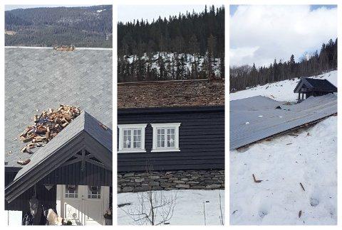 RUBBEL OG BIT: Familien Sandberg i Nordsinni kom hjem til et hus uten tak på den ene siden etter vindkastene mandag.
